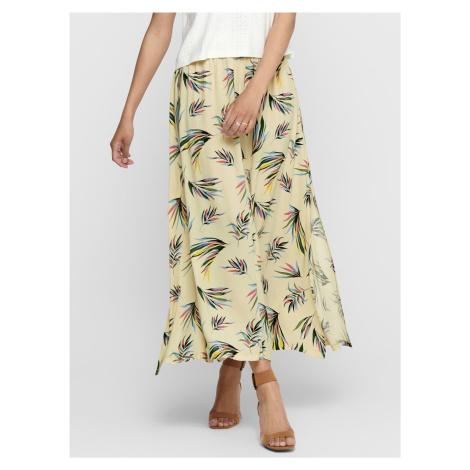 Svetložltá vzorovaná maxi sukňa Jacqueline de Yong Tianna