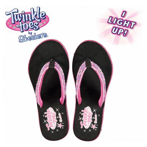 Skechers Twinkle Toes Flip Flops Junior Girls Black/Hot Pink