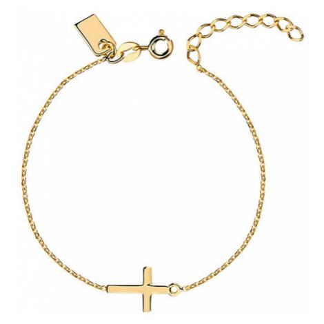 OLIVIE Strieborný náramok GOLD s krížom 3688