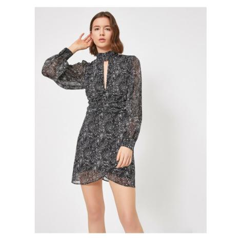 Koton Patterned Dress Evening Dress Siphon Choker Neck Wrapped Long Sleeve Mini