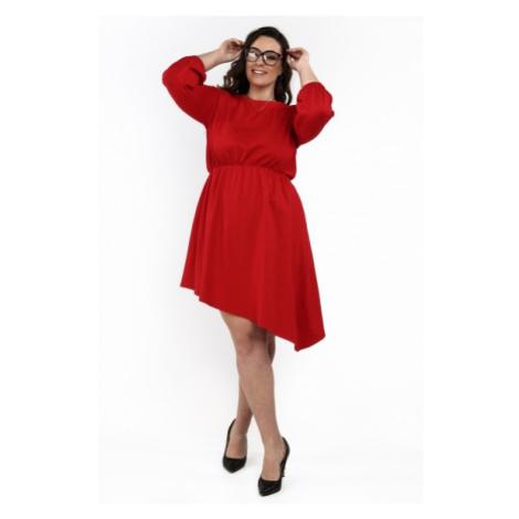 Asymetrické štýlové šaty s okrúhlym výstrihom, červené FASARDI