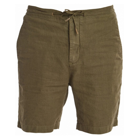 Barbour Jednofarebné ľanové kraťasy Barbour Linen Mix Shorts - zelené