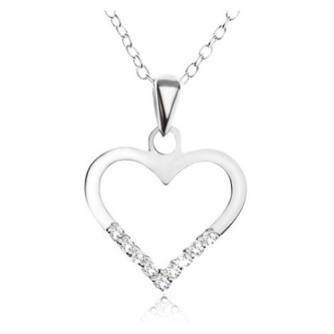 Nastaviteľný náhrdelník - retiazka, obrys srdca, číre zirkóniky, striebro 925
