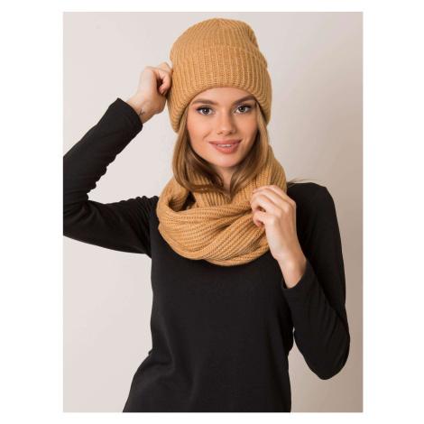 RUE PARIS Dark beige hat and scarf set