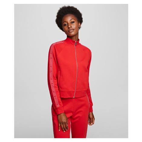 Mikina Karl Lagerfeld Zip Up Sweat W/ Logo - Červená