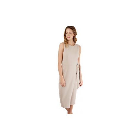 Closet London Dámské šaty Closet Tie V-Back Pencil Dress Taupe