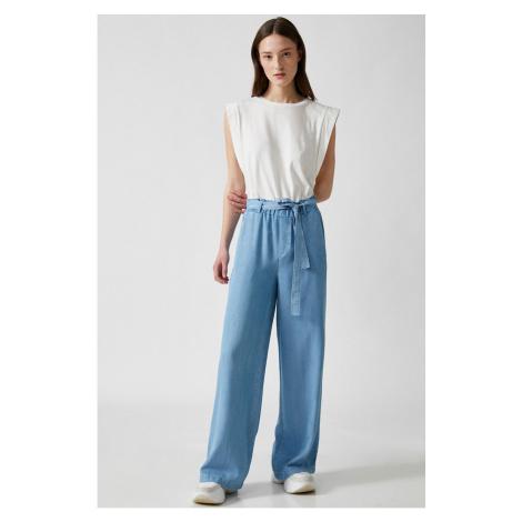 Koton Women's Blue Wide Leg Belted Trousers