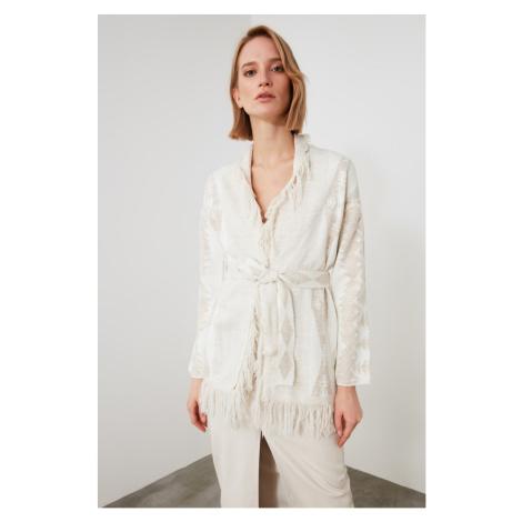 Trendyol Stone Jacquard Knitwear Cardigan