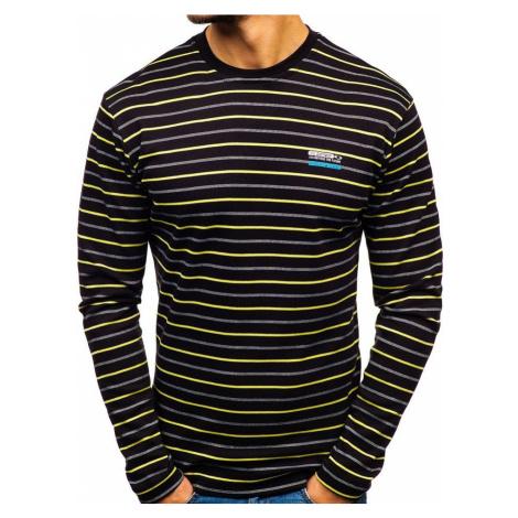 Čierne pánske prúžkované tričko s dlhými rukávmi Bolf  1519-A COMEOR