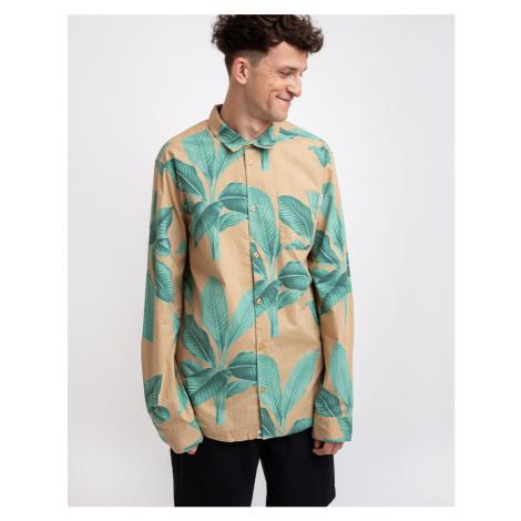 Dedicated Shirt Varberg Khaki Leaves Green
