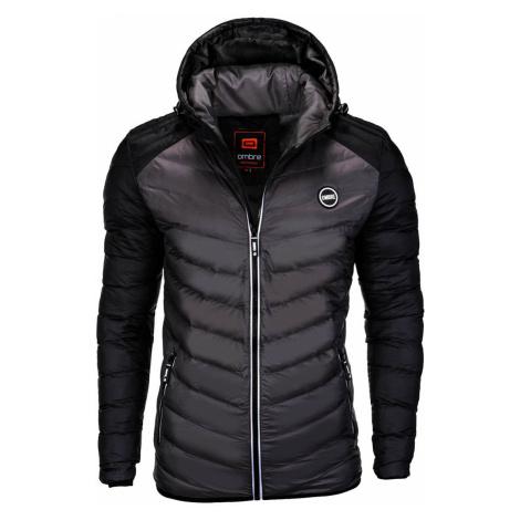 Pánska prešívaná zimná bunda Freud čierno-šedá