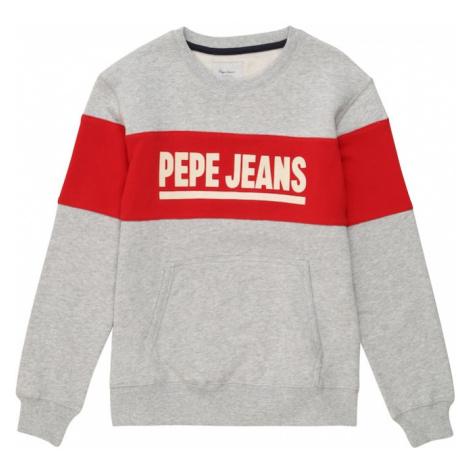 Pepe Jeans Mikina 'Keith'  sivá melírovaná / červená / biela