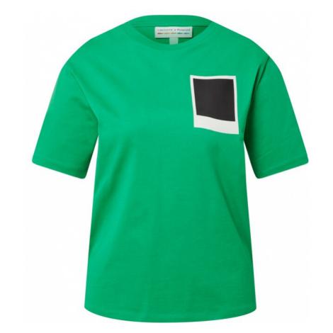 LACOSTE Tričko  trávovo zelená / biela / čierna