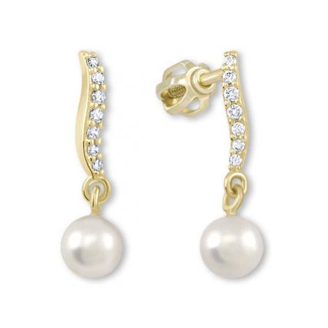 Brilio Náušnice zo žltého zlata s kryštálmi a perlou 001