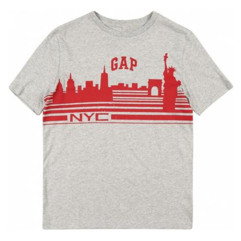 GAP Tričko 'City'  sivá melírovaná / červená