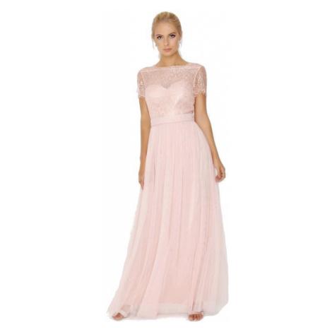 Ružové spoločenské maxi šaty s čipkovaným topom Little Mistress