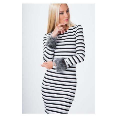 Pruhované šaty s kožušinou, čierna-biela-šedá FASARDI