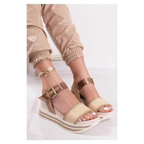 Béžové platformové sandále Merielle Bugatti