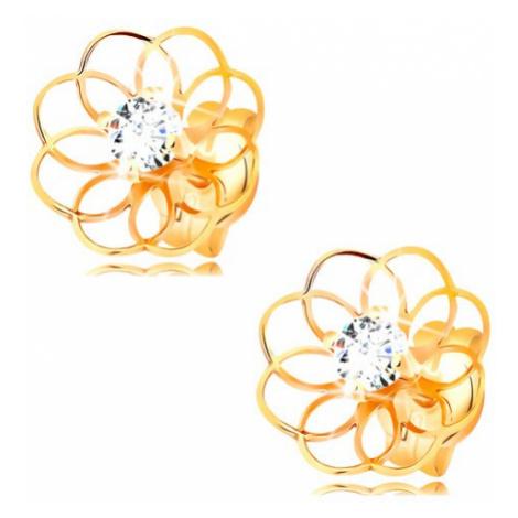 Briliantové náušnice zo žltého 14K zlata - tenký obrys kvietku s diamantom