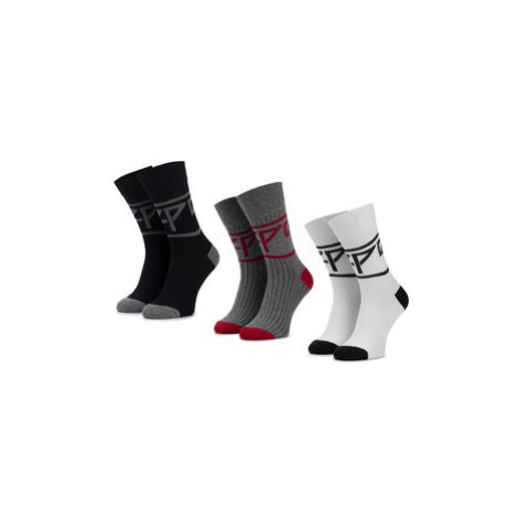 Pepe Jeans Súprava 3 párov vysokých ponožiek unisex Rib Socks Nate PMU10567 Sivá
