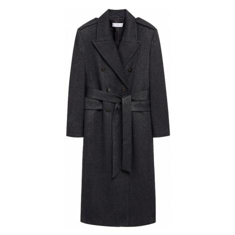 MANGO Prechodný kabát  sivá melírovaná