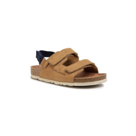 Pepe Jeans Sandále Bio Velcro Boy PBS90038 Hnedá