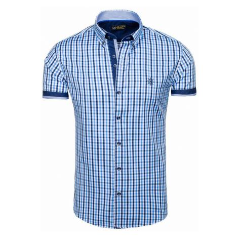 Blankytná pánska károvaná košeľa s krátkymi rukávmi BOLF 4510