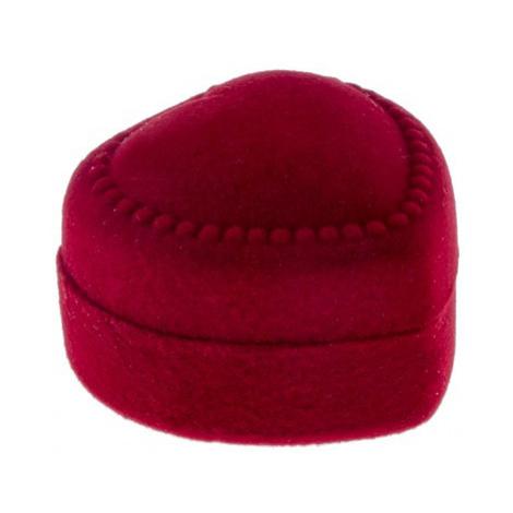 Červená krabička na prsteň - zamatové bodkované srdce