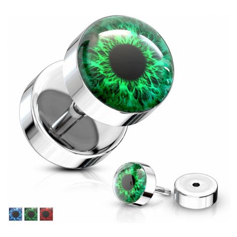 Falošný plug z ocele 316L - farebné oko s čiernou zrenicou, číra glazúra - Farba piercing: Červe