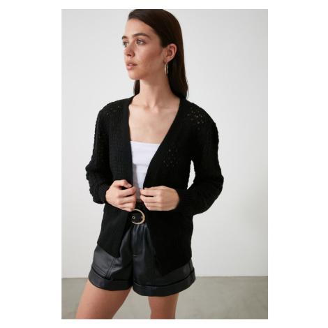 Trendyol Black Ajur knitwear cardigan