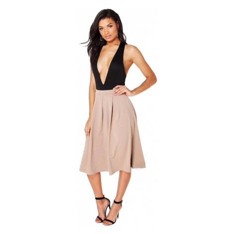 BEAU Pieskovo hnedá skladaná sukňa Boohoo