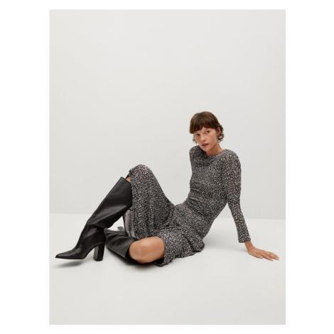 MANGO Šaty 'Rolo'  čierna / krémová