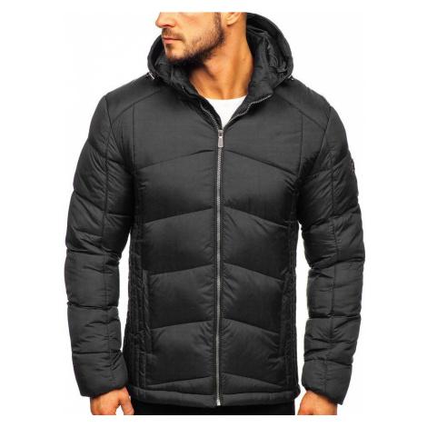 Čierna pánska prešívaná športová zimná bunda Bolf  AB102