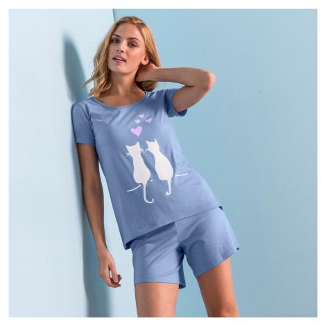 """Blancheporte Pyžamo so šortkami a krátkymi rukávmi, potlač """"mačiek"""" modrá"""