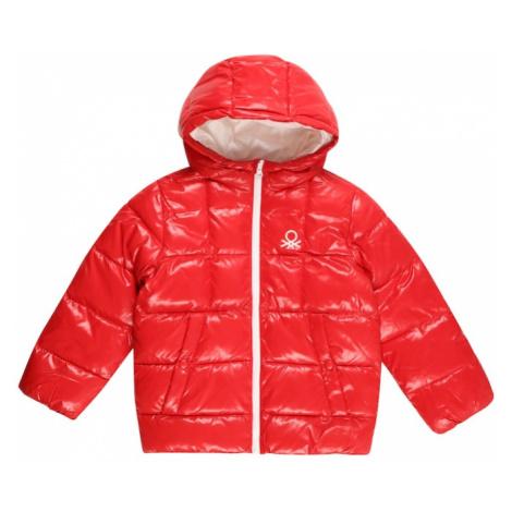 UNITED COLORS OF BENETTON Prechodná bunda  svetločervená / biela