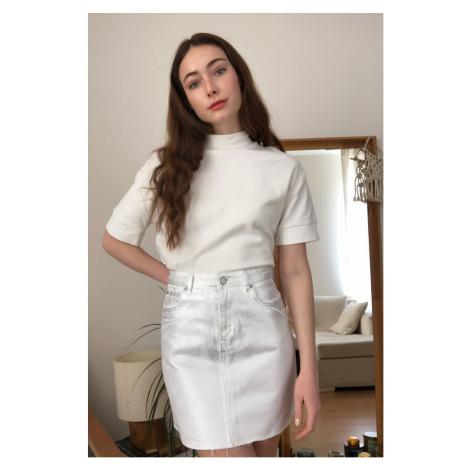 Trendyol Grey Coated Mini Denim Skirt