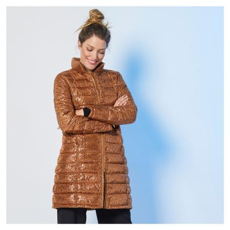 Blancheporte Dlhá prešívaná lesklá bunda karamelová potlač