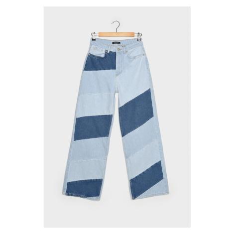 Trendyol Blue Color Blocked High Waist Wide Leg Jeans