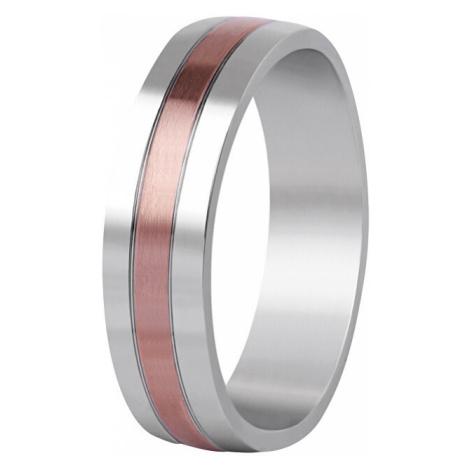 Beneto Bicolor snubný prsteň z ocele SPP10 mm