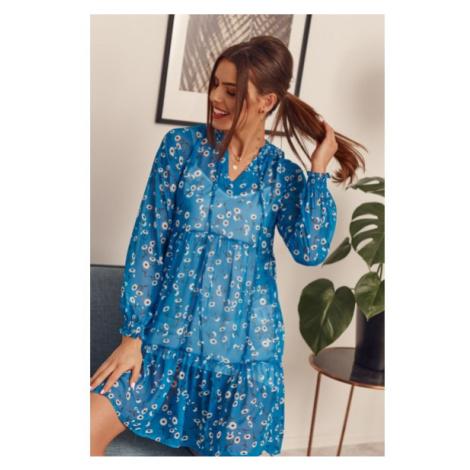 Kvetinové šaty s dlhým rukávom, modré FASARDI