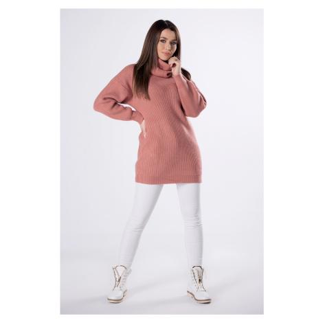 Ružový pletený sveter s rolákom