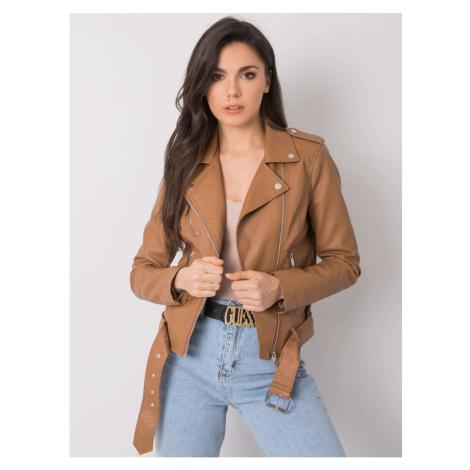 Camel biker jacket made of eco-leather