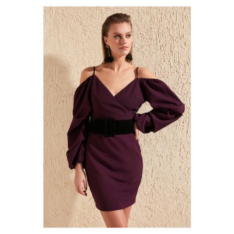 Trendyol Purple Velvet Belt Dress