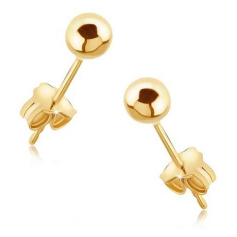 Náušnice zo zlata 14K - lesklé hladké guličky na puzetke