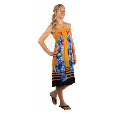 Plážové kvetované šaty s odhaleným chrbtom
