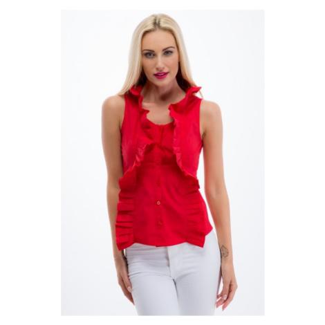 Červená košeľa s volánmi a bez rukávov FASARDI