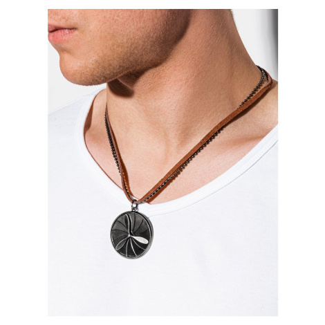 Ombre Clothing Men's necklace on the leather strap A351