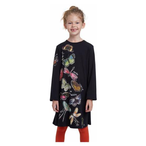 Desigual čierne dievčenské šaty Vest Naucalpan