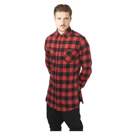 Urban Classics Side-Zip Long Checked Flanell Shirt blk/red - Veľkosť:M