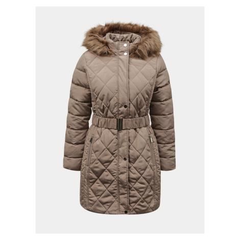 Béžový zimný prešívaný kabát Dorothy Perkins